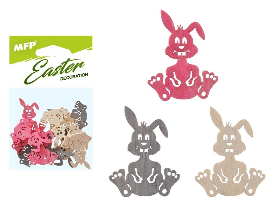 dekorácia zajac farebný  12ks 4cm mix 2221440