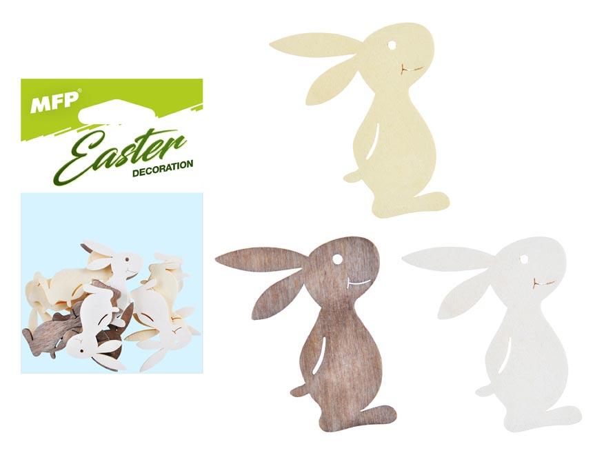 dekorácia zajac prírodný  12ks 4cm mix 2221441