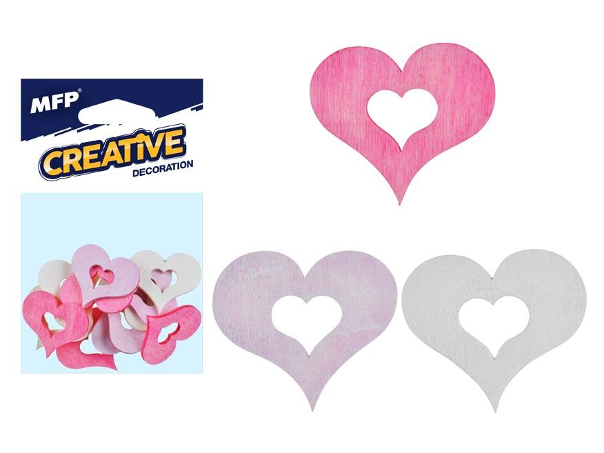 Dekorácia srdce pastelové  12ks 4cm mix