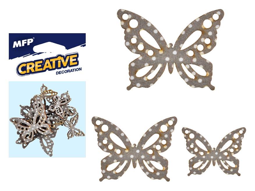 Dekorácia motýľ bodka 12ks -5,4,3cm
