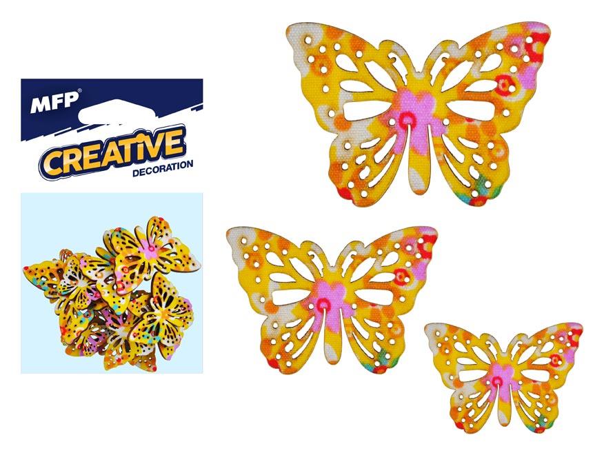 Dekorácia motýľ žltý 12ks -5,4,3cm