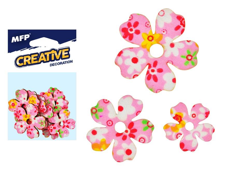 Dekorácia kvet ružová 12ks -5,4,3cm