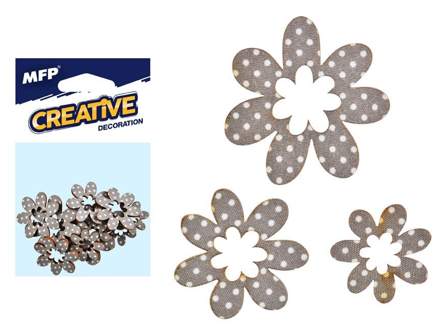 Dekorácia kvet bodka 12ks -5,4,3cm
