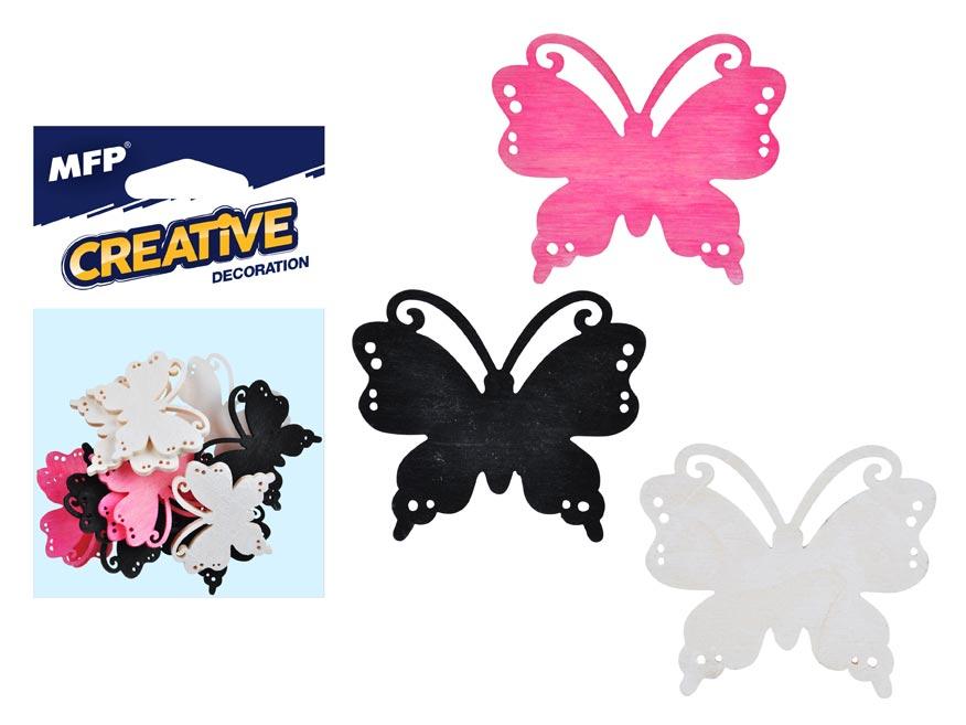 Dekorácia motýľ farebný 12ks 4cm mix