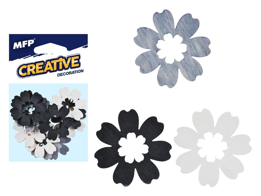 Dekorácia kvet prírodný 12ks 4cm mix
