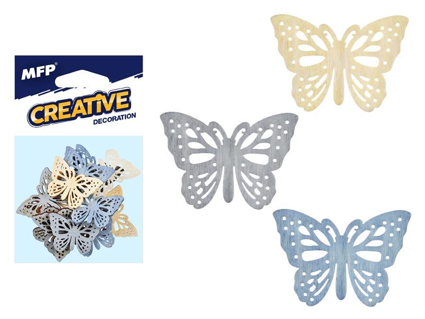 Dekorácia motýľ prírodný 12ks 4cm mix