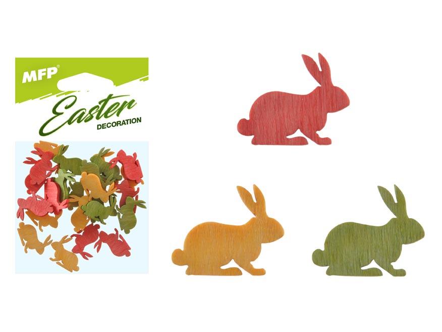 Dekorácia zajac farebný 24ks 2cm mix