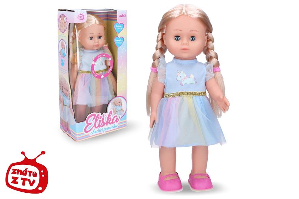 Eliška chodiaca bábika 41cm, modré šaty W009318