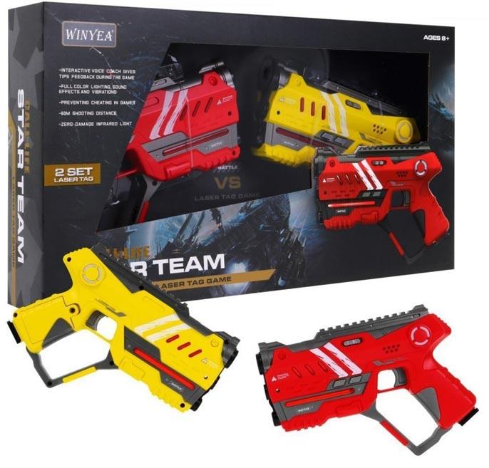 Laser hra pre dvoch 22cm - žltá a červená farba W006492
