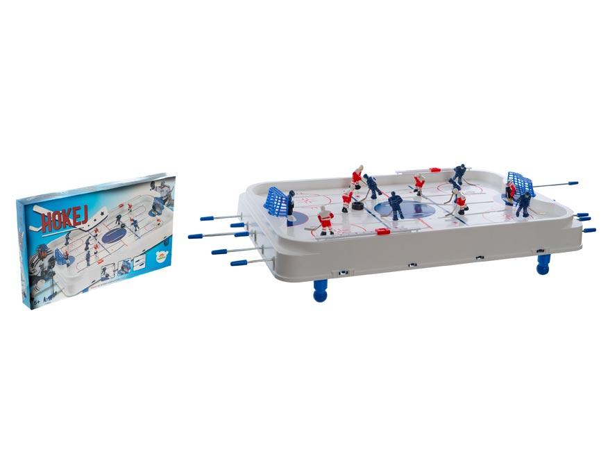 Hokej společenská hra 63x41cm plast/kov kovové tiahla v krabici 73x43,5x8,5cm