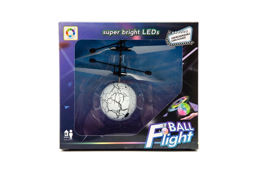Vrtulníková guľa farebná lietajúca plast 13x11cm s USB káblom na nabíjanie v krabičke