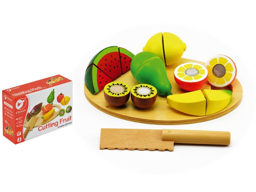 Ovocie krájacie s doskou drevo 17ks 21,5x15x7cm v krabici 24m+