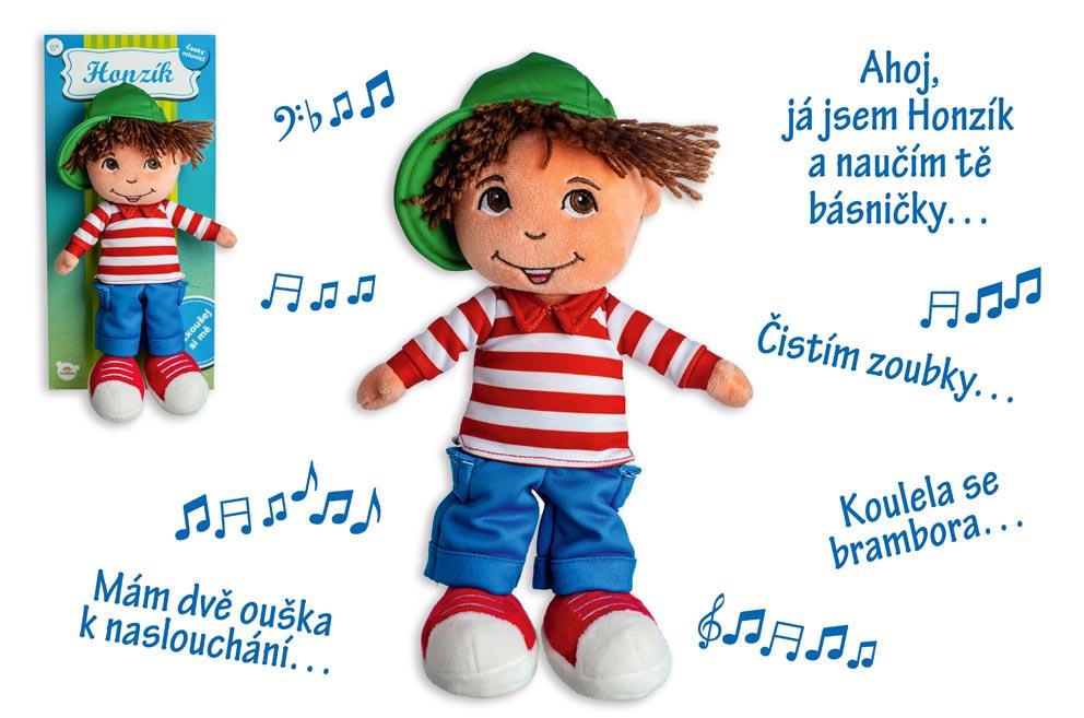 Bábika/Panáčik chlapec Honzík handrový plyš 30 cm česky hovoriaci na karte
