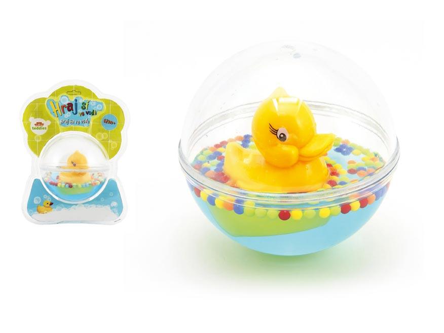 Kačička plávajúca v guli plast 12cm s vodou pre najmenších na blistri 12m+