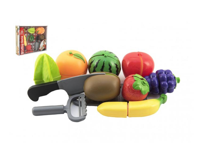 Ovocie krájacie plast so strúhadlom s nožom so škrabkou v krabici 30x24x6cm