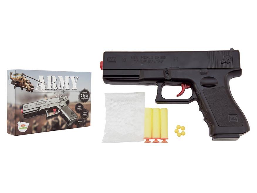 Pištoľ na guličky 20cm plast + 3 druhy nábojov v krabičke 23x15x4cm