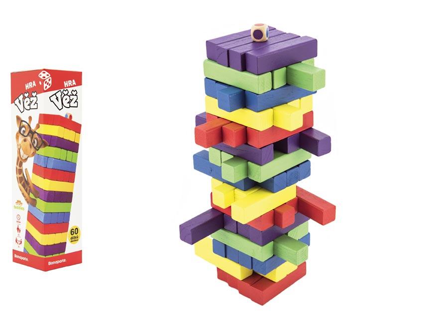 Hra veža drevená 60ks farebných dielov společenská hra hlavolam v krabičke 7,5x27,5x7,5cm