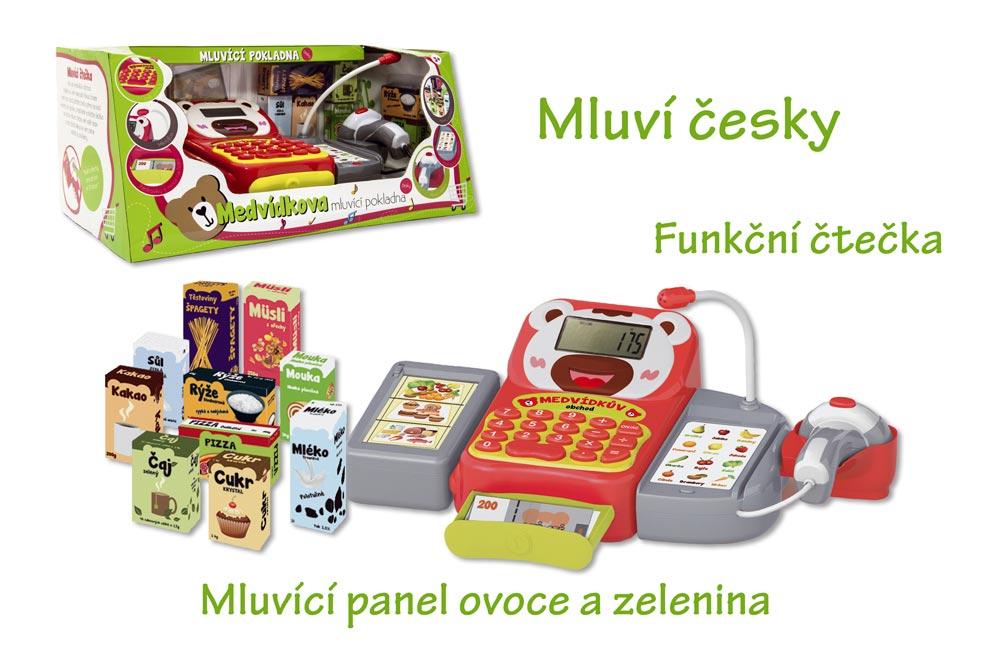 Pokladňa česky hovoriaca dig.plast 36cm s doplnkami na batérie so zvukom so svetlom v krabici 43x19x23cm