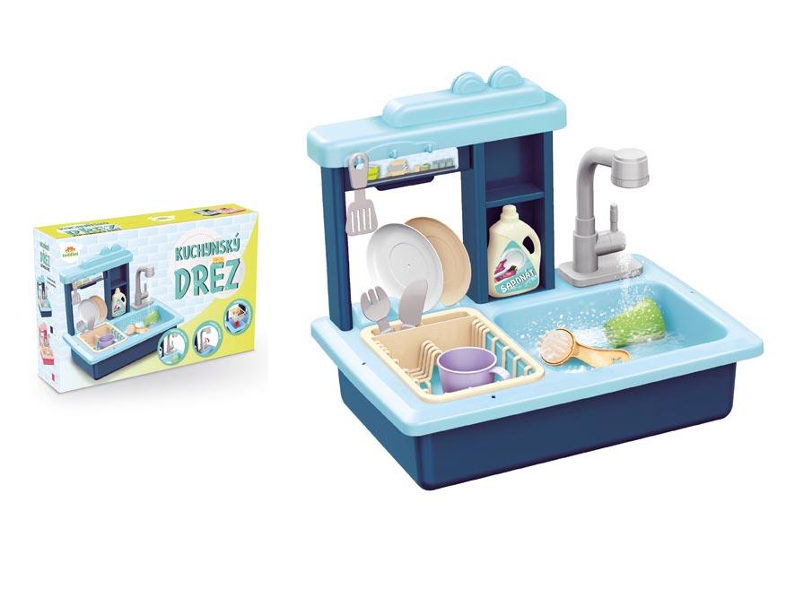 Drez na umývanie riadu modrý + kohútik na vodu na batérie plast s doplnkami v krabici 46x28x12cm