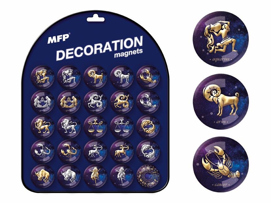 Magnet dekoračný guľatý 3,5cm mix 5 - horoskopy