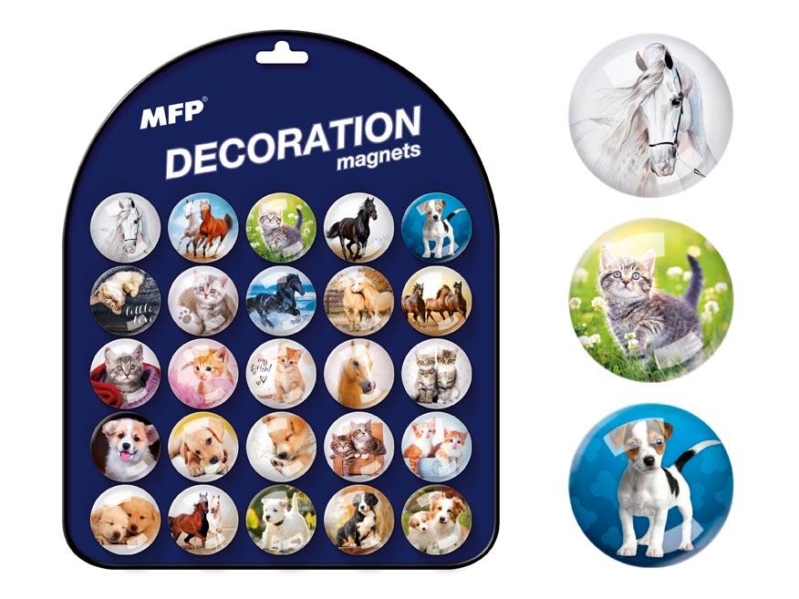 Magnet dekoračný guľatý 3,5cm mix 6 - zvieratká
