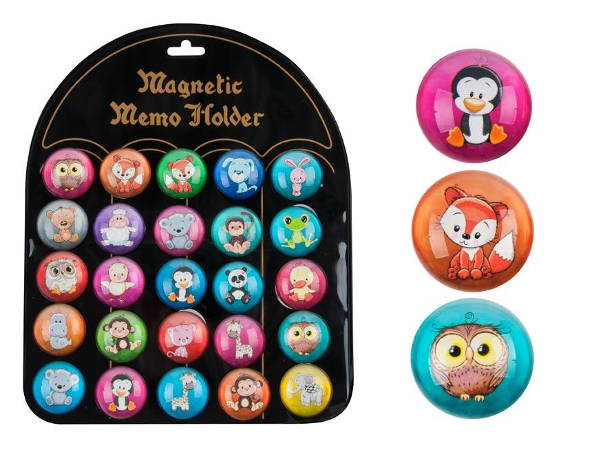 magnet dekoračný guľatý 3,5cm mix 7 - zvieratká kresl. 4200281