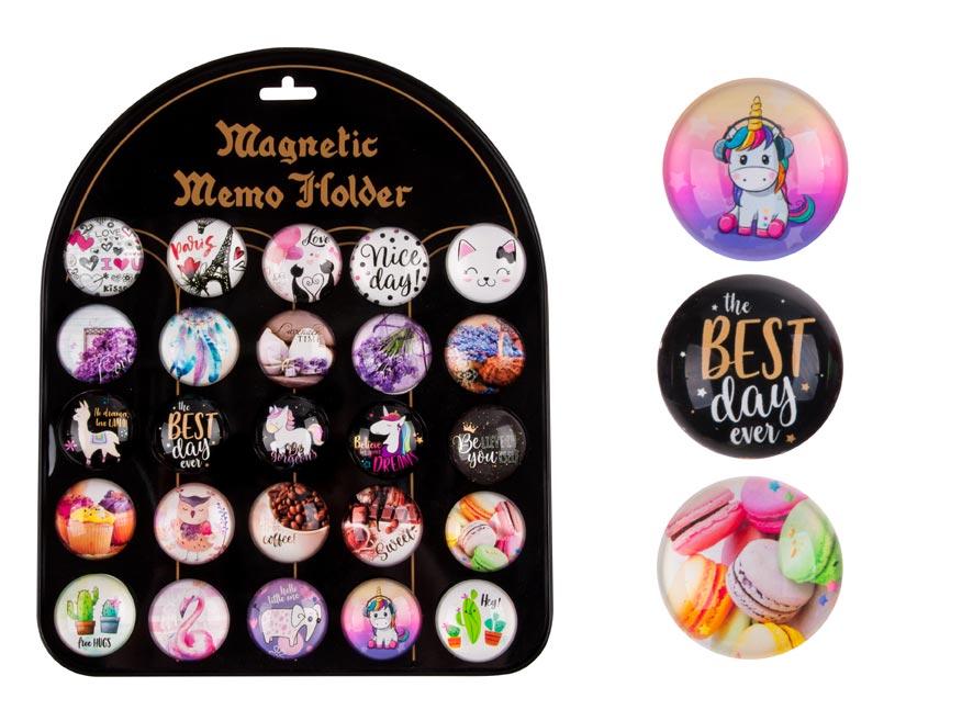 Magnet dekoračný guľatý 3,5cm mix 8 - teen