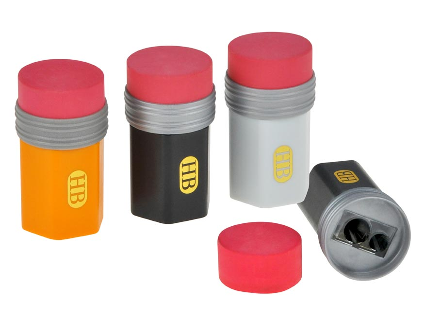 Guma + strúhadlo na 2 ceruzky - zásobník mix farieb