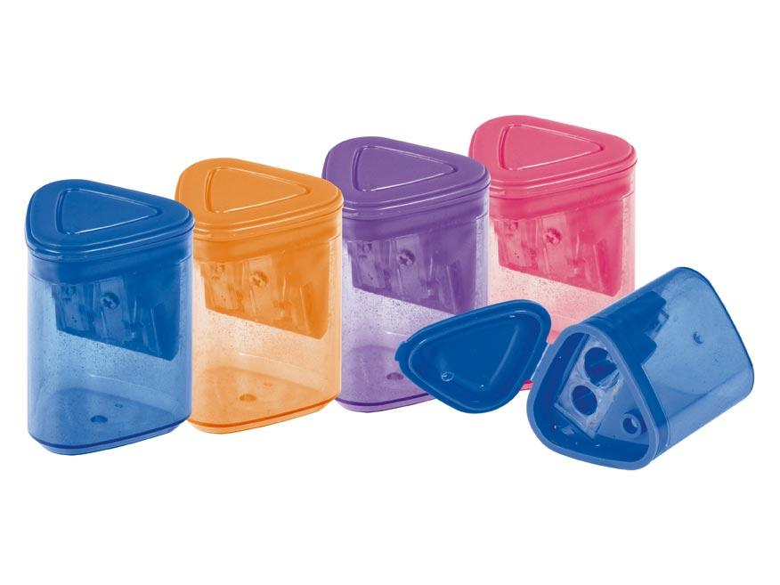 Strúhadlo plastové dvojité so zásobníkom mix farieb