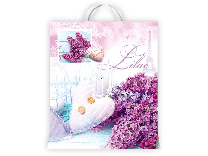 Igelitová taška MFP Kvety fialové 40x46x8 (s uchom)