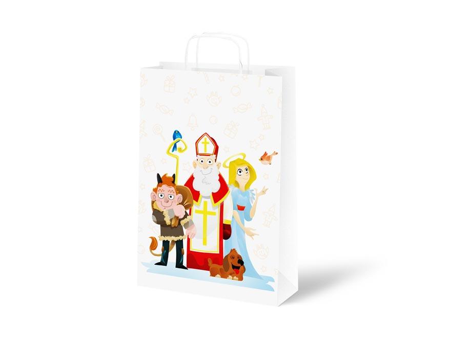 taška Mikuláš papier biely s uchom 18x24x8cm 5251318