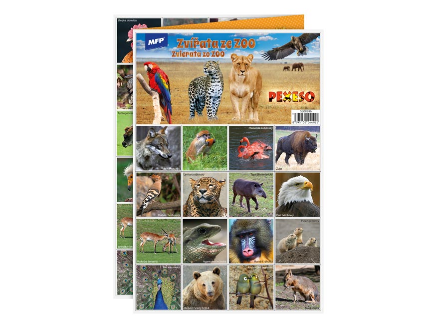 Pexeso MFP 3xA4 Zvieratá zo ZOO