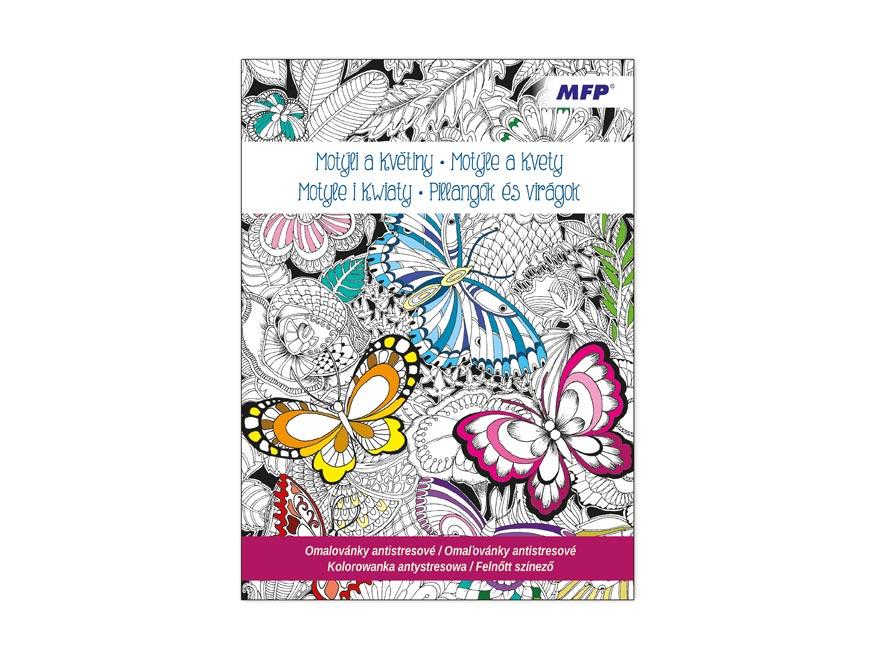 Omaľovánky antistresové Motýle a kvety 210x290/32s