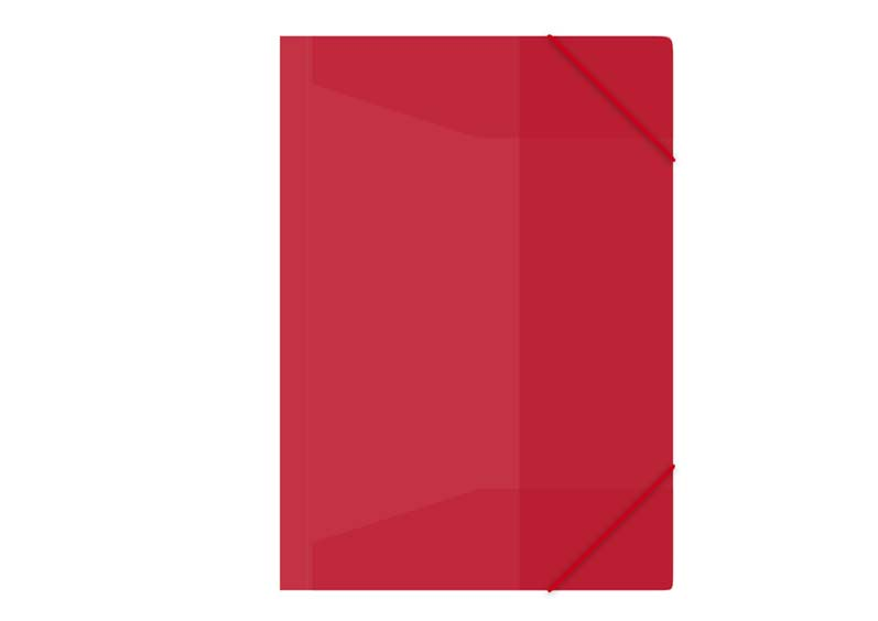Zložka M A4 červená 3 klopá s gumou PP