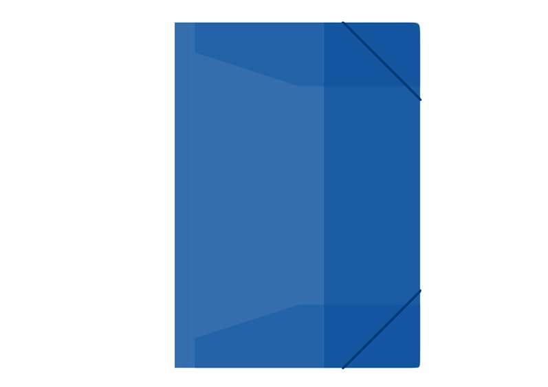 Zložka M A4 modrá 3 klopá s gumou PP