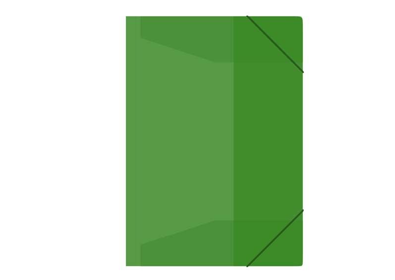 Zložka M A4 zelená 3 klopá s gumou PP