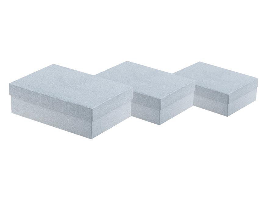 Krabica set 3ks gliter stříbrná