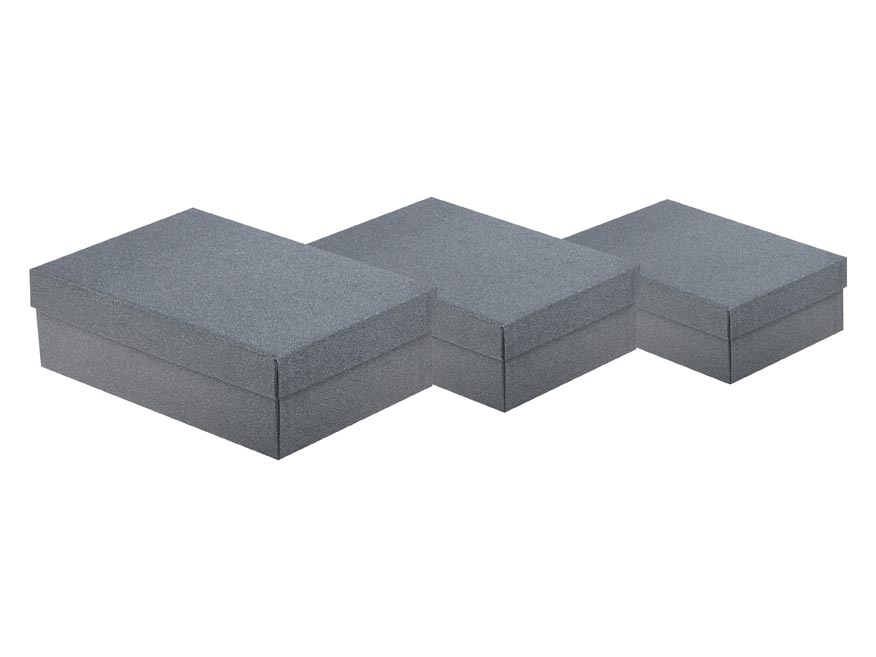 Krabica set 3ks gliter šedá