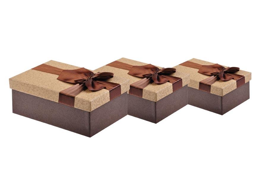 Krabica set 3ks s mašlí vínová+béžová