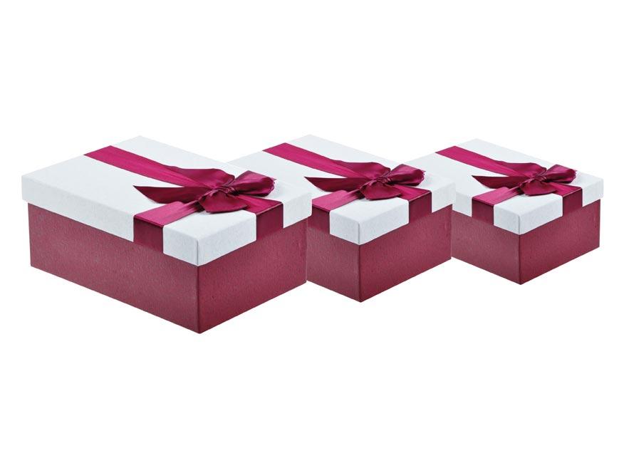 Krabica set 3ks s mašlí vínová+smetanová
