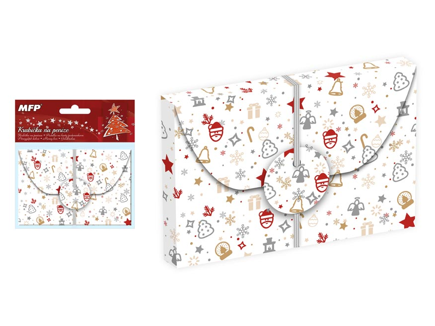 Krabička na peniaze vianočná 12x8x1cm