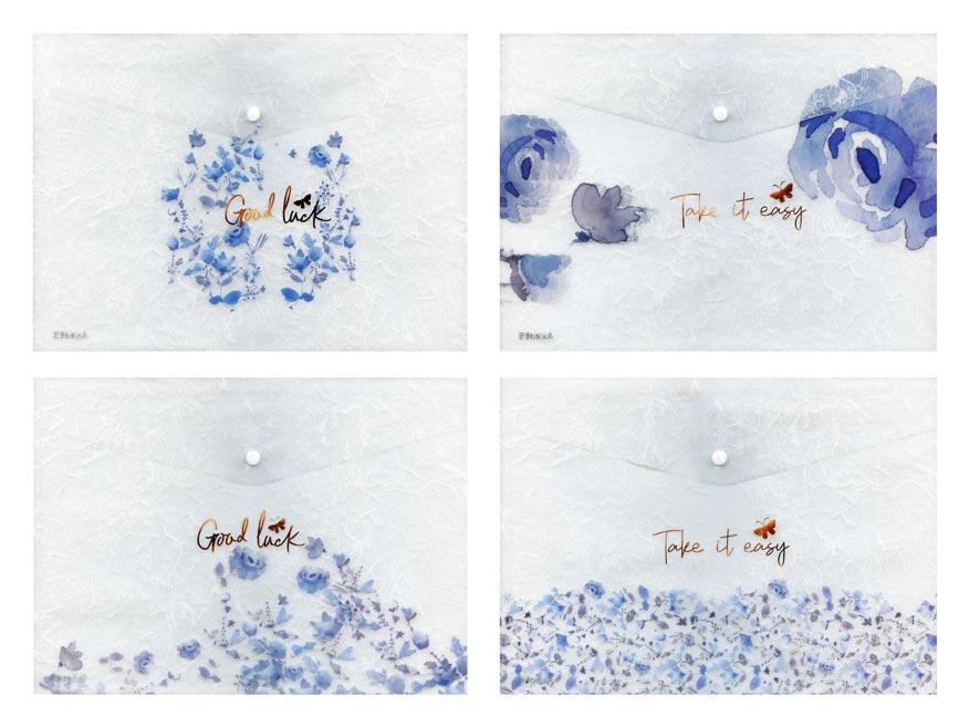 zložka M s cvokom A5 PP potlač LUX mix č.4 modré kvety 5370598