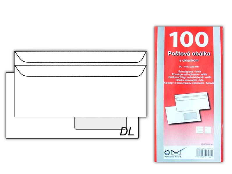 Listová obálka DL okno v pravo samolepiaca K-DL/80FRSX/P/100