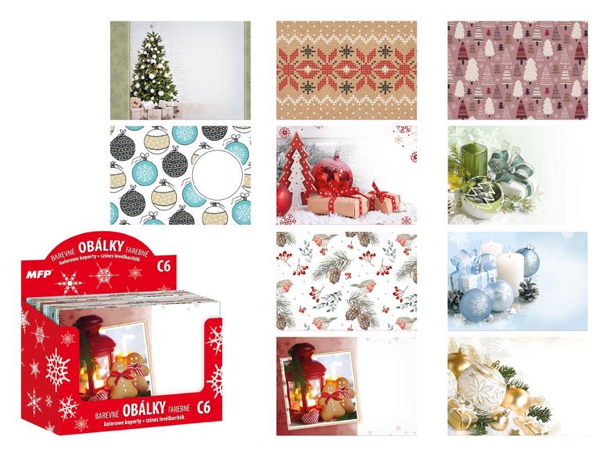 Listová obálka MFP C6 potlač vianočná (mix)
