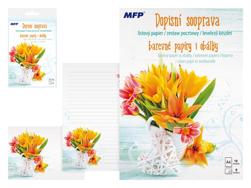 Listový papier farebný LUX 5+10 (kvety 4)