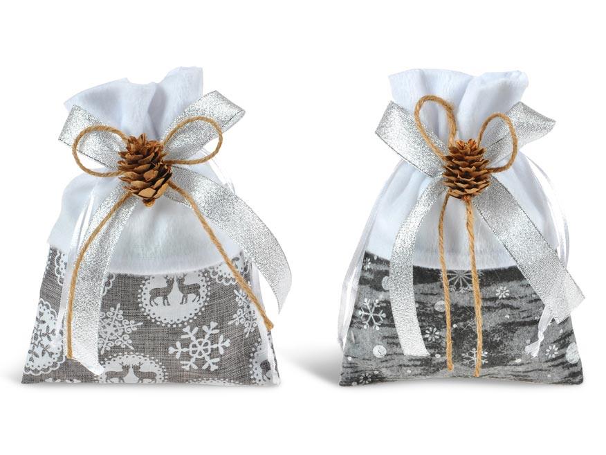 vrecko textil vianočné šiška 13x18cm mix 5800725