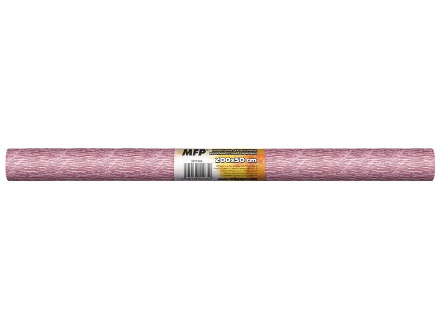 Krepový papier rolka 50x200cm perleťový ružový
