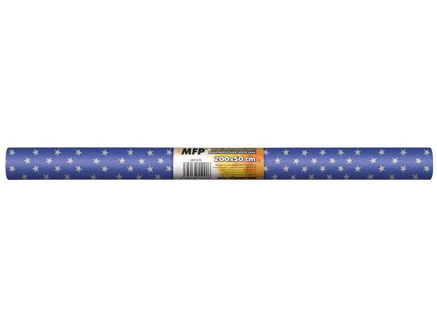Krepový papier rolka 50x200cm modrý biele hviezdy