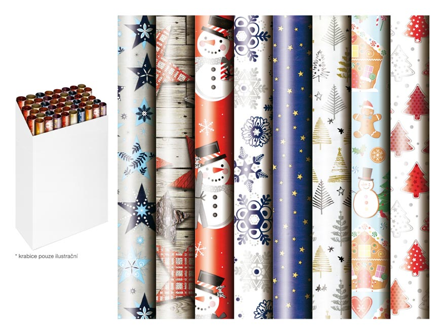Baliaci papier vianočný rolky 1000x70 mix 2