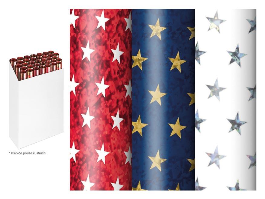 baliaci papier vianočný rolky 150x70 hologram hviezdy mix 5811567